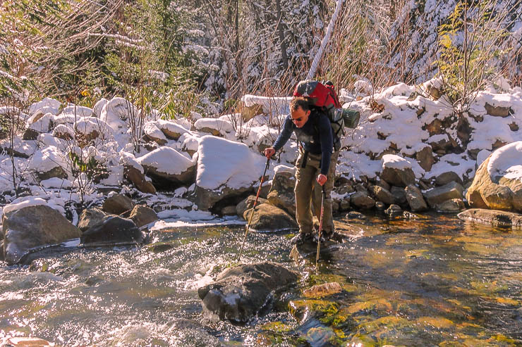Trekking poles are super helpful for stream crossings. Day hike essentials