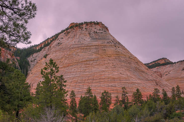The beautiful Checkerboard Mesa in Zation National Park on the way to the east entrance